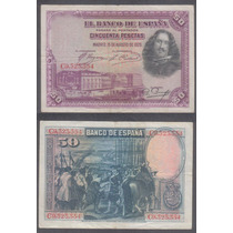 Billete España Spain 50 Pesetas 1928