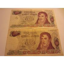 2 Billetes Argentina 10 Pesos San Martin Ley 18188