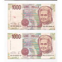Italia 2 Billete De 1000 Liras Año 1990 Pick 114 !!