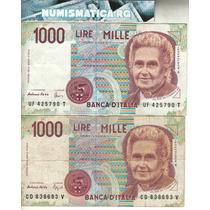 Italia Lote 2 Billetes De 1.000 Liras 1990 Dif. Firmas - Vf