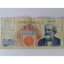 1000 Liras Italia 1964 Giuseppe Verdi Mira Hacia Un Costado