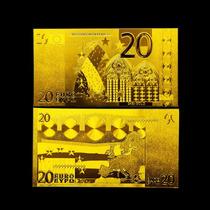 Union Europea Billete De 20 Con Baño De Oro 24 Kilates