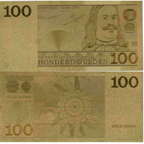 Replica Billete 100 Gulden Holanda Bañado En Oro 24 Kt