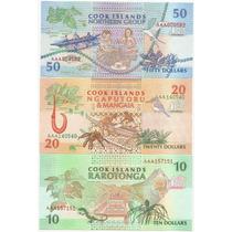 Serie De Excelentes Billetes Islas Cook $10,$20 Y$ 50, Unc