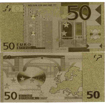 Replica Billete 50 Euros Bañado En Oro 24 Kt