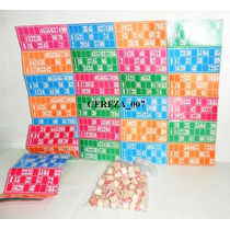 Bingo Loteria Para La Familia 48 Cartones Fichas De Madera