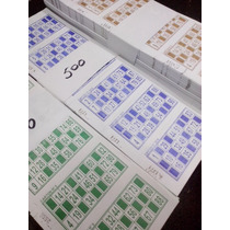 1000 Cartones De Bingo Descartables 5 Colores