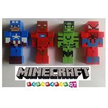 Minecraft - Super Heroes X 4 + Accesorio + Cubos