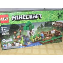 Escenario Grande Y Figuras Minecraft Excelentes ! Lezi Block