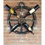 Bodega Rueda De Carreta De Madera 4 Botellas, Decoración