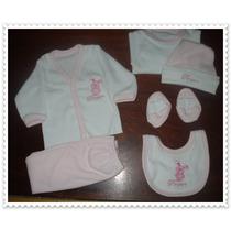 Ajuar Recibidor Recién Nacido Bordado Bebe 6 Piezas Completo