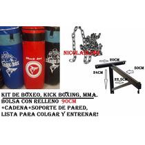 Kit Boxeo,bolsa 90cm C/ Relleno+cadenas+soporte,listo P/usar