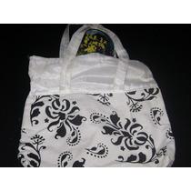 Bolso De Tela Estampado Blanco Y Negro