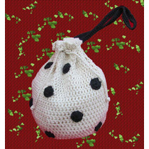 Cartera - Bolso Tejido Crochet Con Lunares Y Forro