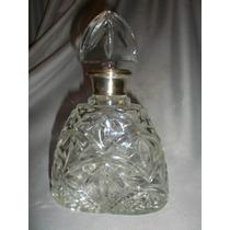 651- Excelente Botellon Tallado Con Virola Baño De Plata