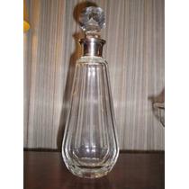 484- Excelente Botellon De Cristal Virola De Plata 925 35 Cm