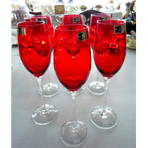 Juego De Copas Champagne Cristal Rojo Nuevo! La Melange