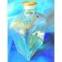 El Arcon Botellon De Cristal Con Decorado Oro 18 Cm 13006