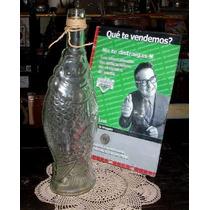 Antigua Botella Vidrio Forma De Pez 28cm (3287)