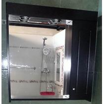 Botiquín Espejo Baño Peinador Laqueado Wengue 2 Luces 70x70!