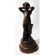 Escultura Francesa Bronce Angelito Firmado H.godet Marmol