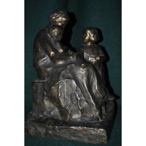 Antigua Escultura De Bronce - Maternidad - Anonimo