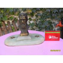 Antigua Figura Bronce Busto Theodor Herzl Fundador Sionismo