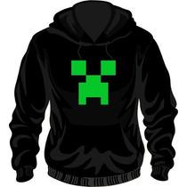Buzo Canguro Frizado Invisible Estampado Creeper Minecraft