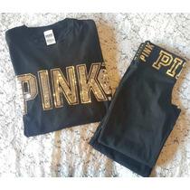 Conjunto Deportivo Remera Calza Pink Victoria Secre Original