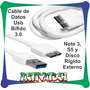 Cable Datos Usb 3.0 Bífido Para Note 3 S5 Disco Externo F.v.