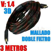 Cable Hdmi 3 Mts 1.4 4k Oro 24k Hd Led 3d Doble Filtro 1080p