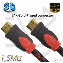 Cable Hdmi A Hdmi - Mallado 1.4v 3d - 1,5mts Full Hd - Led