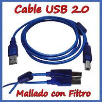 Cable Usb 2.0 Mallado C/filtro Impresora,scanner, Hp Epson