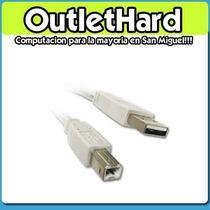 Cable Usb Impresora 1,5, 2 Y 3 M San Miguel Outlethard !!!