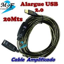 Cable Usb 2.0 Alargue Activo 20mt Nisuta Nuevo Modelo