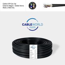 Cable Utp Cat. 5e Exterior Negro Doble Vaina - Rollo X 100 M