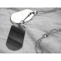 Collar Acero Quirúrgico Doble Chapa Identificación + Cadenas