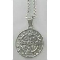 Conjunto Medalla San Benito Cadena Rolo Acero Quirúrgico Gti