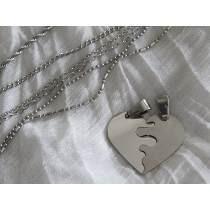 Media Medalla En Corazon Con Cadenas Acero Quirurgico