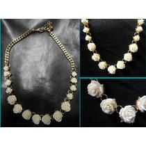 Collar Tipo Gargantilla Rosas Rococo Blancas Unico Elegante