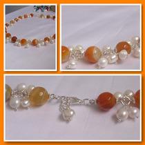 Collar De Agatas Y Perlas - Varios Colores