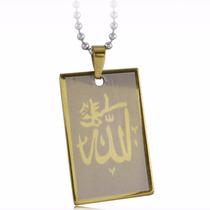 Hermosa Cadena Y Dije Musulman Islam Ala Enchapada Oro 18k
