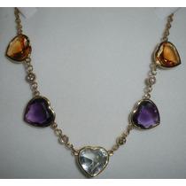 Collar Oro 18k,brillantes-piedras Amatistastopacios,citrinos
