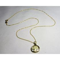 Conjunto Medalla Arbol De La Vida Y Cadena Oro 18 Kts