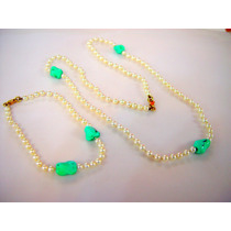 Conjunto De Perlas Cultivadas Turquesa Collar Pulsera Oro 18