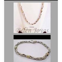 Cadena+pulsera Plata 925 Y Oro 18k