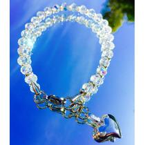 Pulsera Swarovski Elements Cristales Y Dije Corazón.
