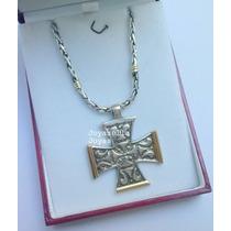 Importante Conjunto Cadena Y Dije Plata Y Oro Cruz De Malta