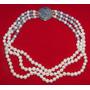 Plata 925 Collar3 Vueltas Perlas Blancas Broche Lapis Lazuli