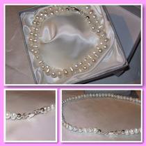 Collar Perlas Naturales Cultivadas Con Plata